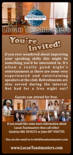 You are invited Lucan Toastmasters