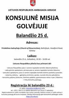 KONSULINĖ MISIJA GOLVĖJUJE 2015 M. BALANDŽIO 25 D
