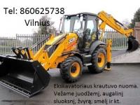 Ekskavatoriaus krautuvo paslaugos. Racioko paslaugos. JCB 3CX nuoma 860625738 Vilnius