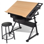 Two Drawers Tiltable Tabletop Drawing Table with Stool (20087)