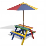 Kids Picnic Table & Benches with Parasol in Four Colours (40773)