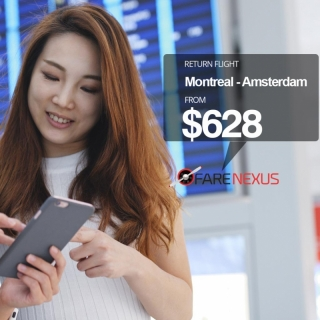 Book Return flight Montreal - Amsterdam $628
