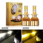 Wholesale CS car led headlight for double colors white and yellow color 3000k 6000k