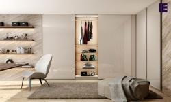 Bespoke fitted frameless sliding door wardrobe in L shape with Light Grey high gloss finish.jpg